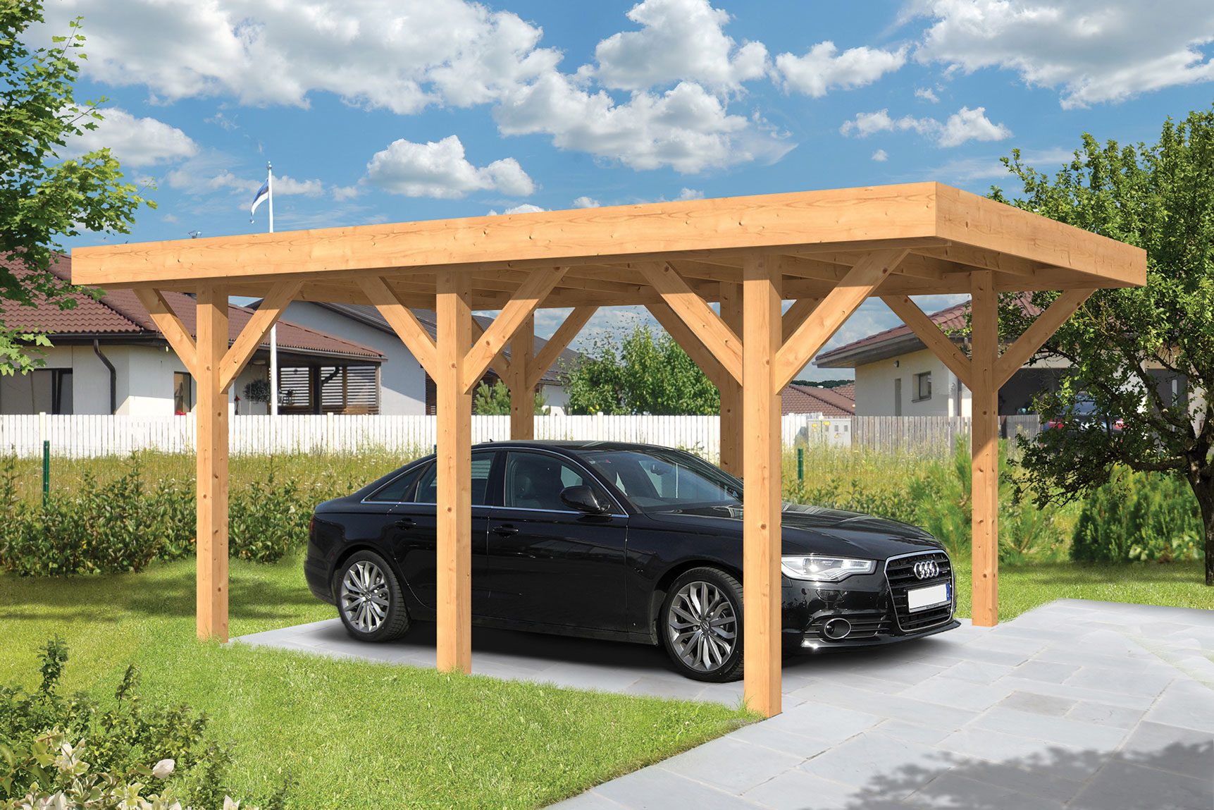 houten carport auto carport kopen kant en klaar. Black Bedroom Furniture Sets. Home Design Ideas