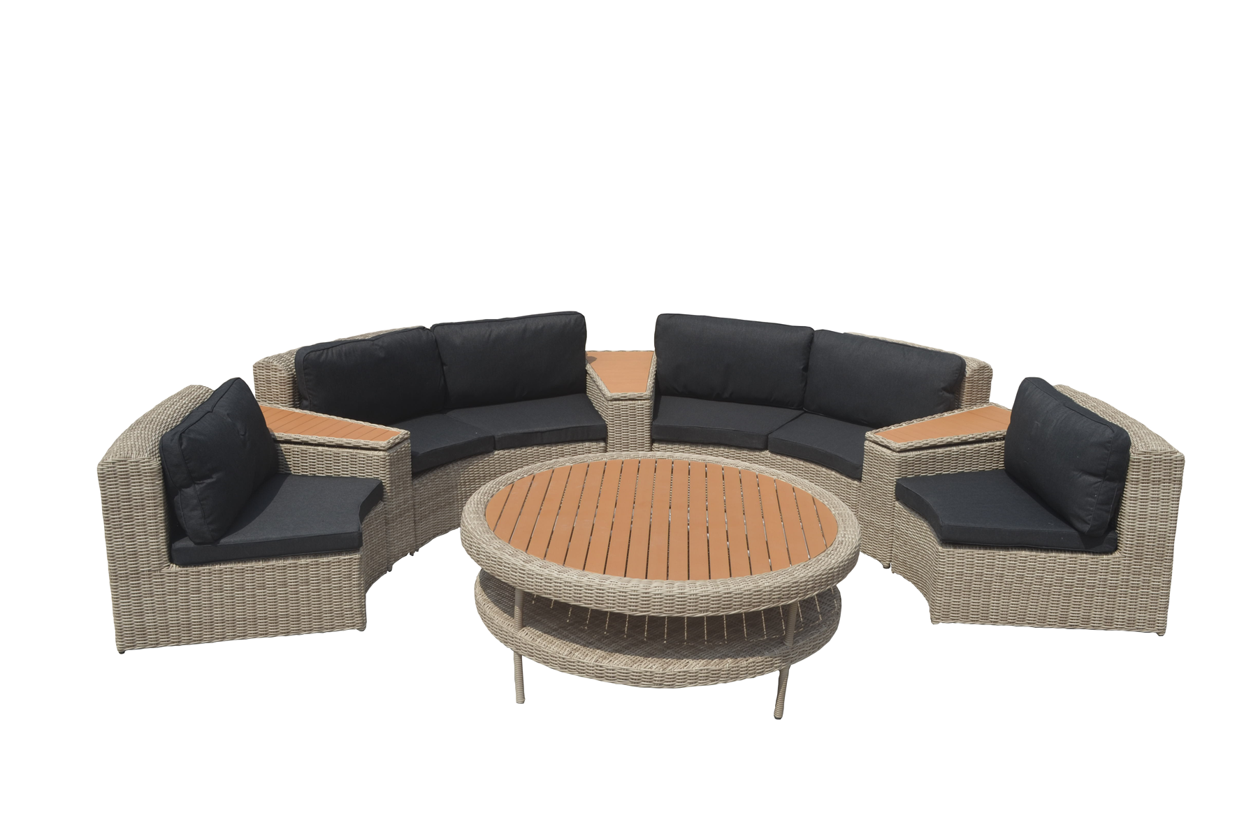 Hoekbank Tuin Wicker Loungeset Zwart Wicker